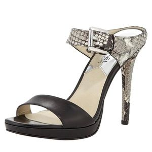 Michael Kors Black Beverly snake print mule pumps